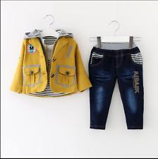 Bambino Boy 3 PC Outfit Set Casual Tuta Taglia 1-6 ANNI Giacca + Top + Jeans!!!