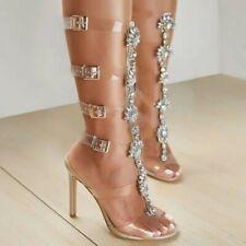 Womens Bohemia Rhinestones Gladiator 12cm High Heels Thong Sandals Buckles Shoes