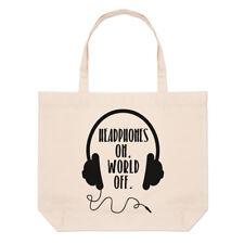 Cuffie sul mondo off Grandi Da Spiaggia Tote Bag-Musica Dj divertente shopper spalla