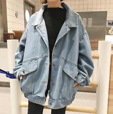 Korea Style Womens Fashion Washes Blue Loose Jean Jacket Chic Patch Denim Coat