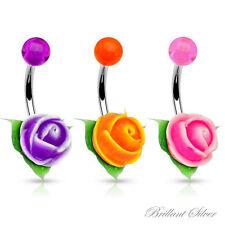 Piercing de Ombligo Clavija Umbilical Silicona Acrílico Flor Rosa Violeta Orange