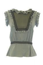 ANNE LEMAN Women's Gray Mesh Cutout Cap Sleeve Iris Top SP92TP1 $219 NEW