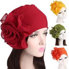 Women Ladies Retro Big Flowers Hat Turban Brim Hat Cap Pile Cap