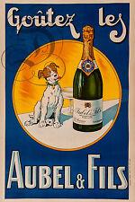 PLAQUE ALU DECO AFFICHE VIN MOUSSEUX AUBEL FILS SAUMUR MAINE ET LOIRE ALCOOL