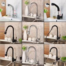 Chrome/Black Kitchen Sink Pull Out Spray Swivel Spout Mixer Faucet Brass Taps