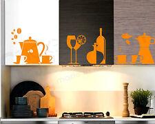 Wall Stickers Adesivo Murale Cucina Piatti Posate Tazzina Bicchiere Bottiglia