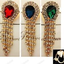 CLIP ON AUSTRIAN CRYSTAL drop EARRINGS gold pltd CLIPS rhinestone RED/BLUE/GREEN