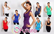 Sexy Wrap Top Strappy Trendy Colours Sleeveless Tunic Sizes 8 - 18 5104