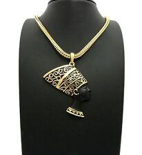 "Egypt Queen Side Face Nefertiti Pendant 4mm 18"" Franco Chain Necklace"