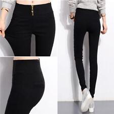 Women Lady Zip Pencil Pants High Waisted Slim Stretch Leggings Trousers Pants G