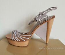 $710 SERGIO ROSSI Unique Wooden Heels Clogs Platform Sandals 36 39 I LOVE SHOES