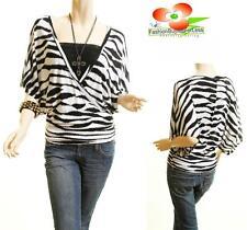Women Static Zebra Print Batwing Kimono Dolman Sleeve Jersey Blouse Shirt Top
