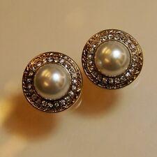 Boucle d`Oreille Clips Pinces Vintage Ancien Perle Strass Super Joli Class J3