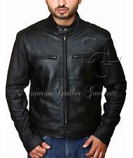 Mens Slim Fit Black Classic Leather Biker Jacket