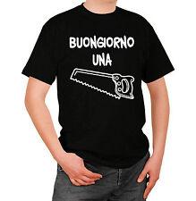 Frasi Divertenti Buongiorno una Sega T-shirt Maglia Nera con Stampa Bianca