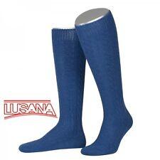 Trachtenkniestrumpf mittelblau Herren Damen Lusana Trachtenstrümpfe Socken