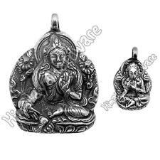Silver Tara Pendant: Tibet Nepal Buddha Buddhist .925 Sterling green white