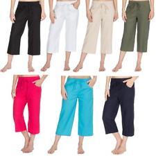 Ladies Linen Blend 3/4 Crop Trousers | Capri Pants | 3/4 Summer Shorts