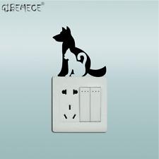 Creative Cat & Dog Light Switch Sticker Cartoon Animal Vinyl Wall Stickers for K