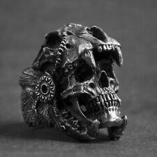 Herren Totenkopf Ring Skull - Gothic Biker Rocker Punk Edelstahl Silber Gr. 7-12