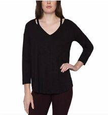 NWT Matty M Ladies Split Neck Knit Jersey 3/4 Sleeve Top Blouse