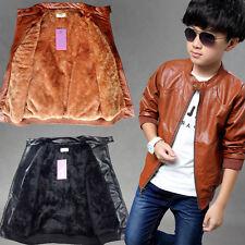 Children Kids Boys Faux Leather Fleece Jackets Casual Coats Windbreaker Outwear
