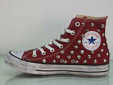 Converse all star Hi borchie scarpe donna uomo MAROON ( bordo') artigianali