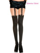 SEXY calze Nero/Beige Collant Reggicalze disegnato Cuori intimo lingerie GLAMOUR