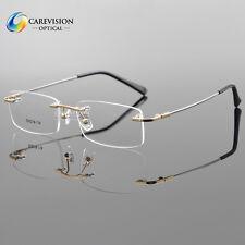 Titanium Alloy Rimless Flexible Eyeglass Frame Optical Hinged Glasses RX Able