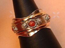 Designer Drehring - mit Koralle - beweglich - Sterling Silber - 925 - exclusiv !