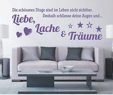 X822 Wandtattoo Spruch - Leben Liebe Lache und Träume Wandsticker Wandaufkleber