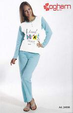 Pyjama femme Long Serafino. Pantalon + Manches longues OGHAM, 24936 Pur Coton