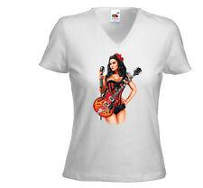 Rockabilly t-shirt Femmes Guitar Girl blanc rock biker pinup vintage
