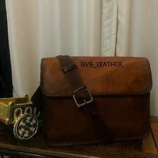 Men Genuine Goat wide Leather Vintage Rucksack Laptop Backpack Travel School Bag