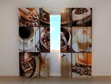 Curtain Coffee Wellmira Custom Made Window Printed 3D Floral Motif Dining Room