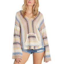 Billabong BAJA BEACH Multi Striped Baja Knit Pullover Hooded Junior's Sweater
