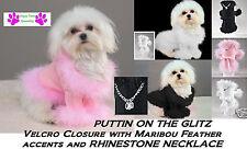 DOG GLITZ SWEATER Jacket Coat w/ BLING RHINESTONE NECKLACE&MARIBOU FEATHERS*NEW