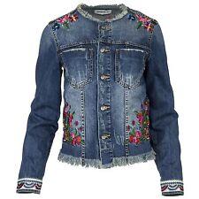 Desigual Damen Jacke Jeansjacke Jeans Used Waschung Florale Bestickungen Borten