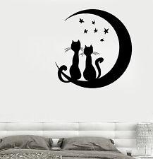Wall Vinyl Moon Stars Cat Romantic Night Decor For Bedroom z3678