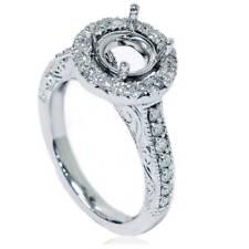 1/2ct Vintage Halo Diamond Ring Setting 14K White Gold
