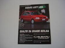 advertising Pubblicità 1991 SUBARU JUSTY 4WD