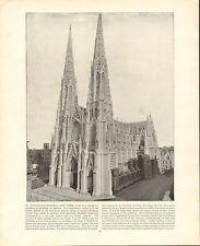 1894 VICTORIAN PRINT ST PATRICK'S CATHEDRAL NEW YORK & DESCRIPTIVE TEXT
