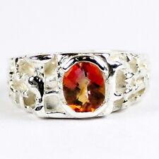 • SR197, Twilight Fire Topaz, 925 Sterling Silver Men's Ring, Handmade