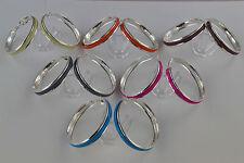 Silver Colour Hoop Earrings With Enamel Coloured Center Fuchsia Blue Cream