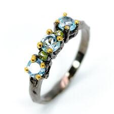 Anniversary Wedding Jewelry Blue Topaz 925 Sterling Silver Fine Ring / RVS278