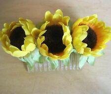 Triple Yellow  Sunflower Buds Silk Flower Hair Comb, Party,Luau,Wedding,Prom