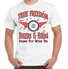 Bikers Camiseta Bikers y aves de una verdadera libertad para hombre Motor Biker Funny Cafe Racer