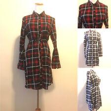 Check Plaid Top Shirt Dress Collar Neck Button Down Long Sleeve Side Pocket S-XL