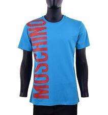 MOSCHINO COUTURE Slim Fit T-Shirt mit Logo Blau Rot Baumwolle 05434