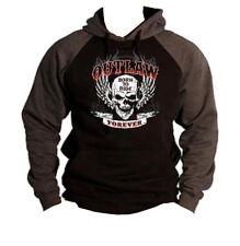 Men's Outlaw Forever Skull Charcoal Raglan Hoodie Motorcycle Born to Ride Biker